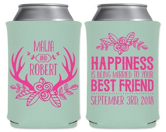 Custom Coolers Beer Can Beverage Insulator Personalized Wedding Favor | Happiness Is Being Married To Your Best Friend | READ DESCRIPTION