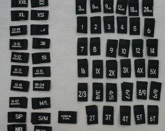 50 Premium Woven Label Metallic Sliver  size tag Combo 2T, 3T, 4T, 5, 6, 7, 0-3 m, 0-6 m, 3-6 m, 6-9 m, 6-12 m, xxs, xs, s, m, L,Pick tags