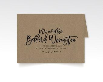 Address Printing & Brown Craft Paper Envelopes . Bold Large Wild Calligraphy . Front / Wedding Guest Names . Back Flap / Return Address