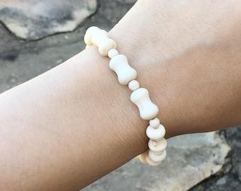 Natural white magnesite bone and ball beaded bracelet, full magnesite stretch bracelet, magnesite jewelry