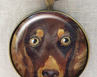 Dachshund Keychain ~ Gifts for Her ~ Longhair Chocolate Dachshund  ~ Teckel Keychain ~ Dog Dad Gift ~ Doxie Owner Gift ~ April Birthday