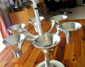 "Vintage Dansk Designs Aluminum 6-Place Candelabra--Striking Jens Quistgaard Design--14-1/2"" H x 10"" Dia.--Height-Adjustable--RARE"