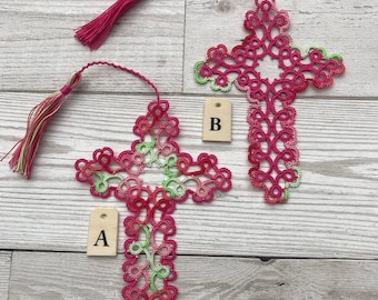 Tatted cross bookmark, pink colour lace bookmark, handmade tatting.