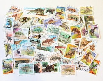 50 dinosaurs and extinct animal vintage stamps