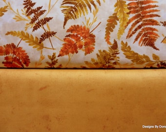 2 Piece Fabric Bundle, One Yard Cut Each, Fall Fern Leaves and Medium Tone Golden Yellow, Sewing-Quilting-Craft Supplies