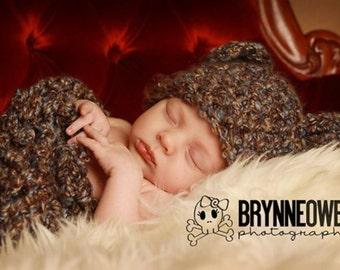 Newborn Cocoon Bear Hat Set Browns Blues