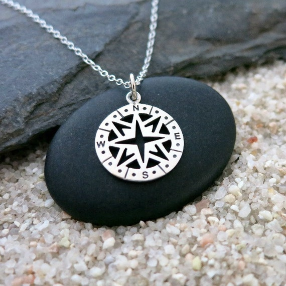 Silver compass necklace sterling silver compass charm travel aloadofball Image collections