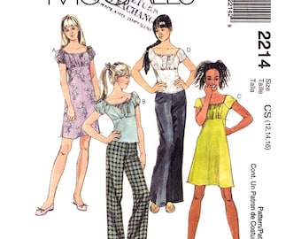 Girls Dress or Top & Pants Pattern McCalls 2214 Empire Waist Top or Dress Trousers Tween to Teen Sewing Pattern Size 12 14 16 UNCUT