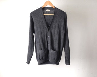 vintage men's SMALL japanese wool TWIN PEAKS thick knit grey cardigan sweater
