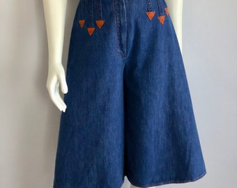 Vintage Women's 70's Denim Culottes, High Waisted by Militaires (S)