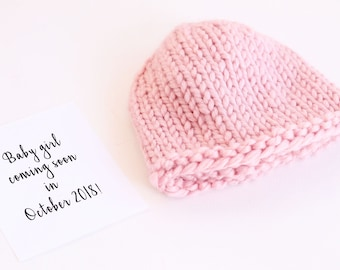 Baby girl, newborn hat, pregnancy reveal, pregnancy announce, baby reveal, pregnancy, gender reveal, birth announcement, grandparents