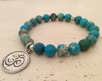 Mala Bracelet, Beaded Bracelet, Turqouise Yoga Bracelet, Sea Sediment Beads, Yoga Jewelry, Reiki Charged, OM Bracelet, Energy Bracelet, Love