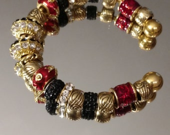 European Rhinestone Statement Bracelet, High Quality, Gold Plated Heavy Bangle, Red and Black, Cross Beads, High Fashion Dress Accessory