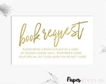 Gold Books for Baby, Book Request, Bring a Book, Book Request Card, Books for Baby Card, Baby Shower Invite, Printable, Instant Download