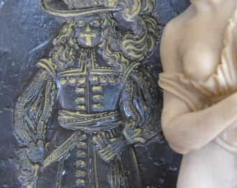 Antique Wax Mold/ Wax Carving/Wax Conquistador Carving/Wax Impression/ German Springerle Mold