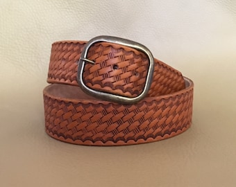 Basketweave leather belt, genuine leather belt, embossed leather belt, high quality leather belt, western belt, western leather gift