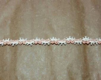 Delicate Peach and Ivory Braid Trim- Braid Trim, decorative trim for junk journals, scrapbooks, cards, altered art, doll clothing, accessory