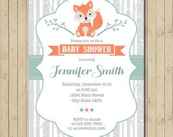Fox Baby shower invitation, Fox Invite, printable, Digital invitation