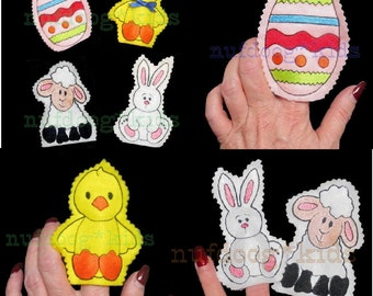 In-The-Hoop Easter Felt FINGER PUPPETS set of 4 with PDF Instructions Machine Embroidery Applique 4x4 hoop Bunny Lamb Chick Egg