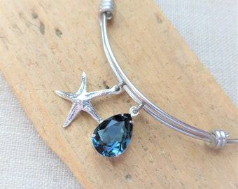 Starfish Charm Bracelet, Beach Bracelet, Adjustable Bangle Bracelet, Swarovski Navy Blue Crystal, Stainless Steel, Beach Jewelry, Gift