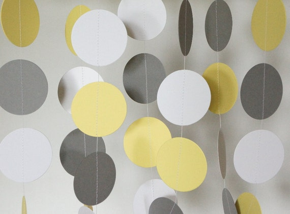 Yellow gray white garland yellow gray wedding decoration like this item junglespirit Image collections
