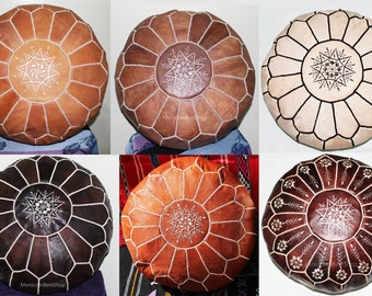Beautiful Natural Handmade Moroccan Ottoman Poufs,Moroccan Poufs Handcrafted, Leather Authentic Pouffes.( 6 Colors ).