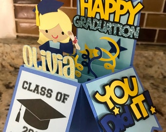 Personalize Boy or Girl Graduation Pop Up Card Fold Birthday Box with Envelope