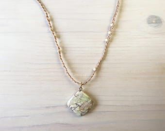 Braided Cotton and Bead Necklace with Marbled Stone Pendant