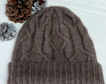 """Hand knit Hat for men/women in supersoft and warm Qiviut-Alpaca-Merino-blend with unique cable pattern """"Forrest Island"""" MADE TO ORDER"""