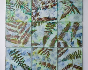 Glass Tiles with Copper Embossed Fern Leaves - handmade unique 4 inch square tiles for backsplash, mosaic or shower - lot of 9 accent tiles