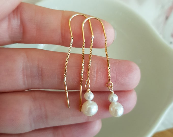 24K Gold Fill threader pearl drop earrings or Sterling Silver threader Freshwater pearl earrings