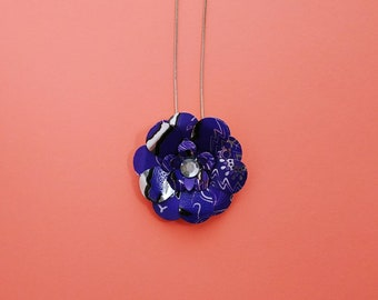 Purple monster can flower necklace