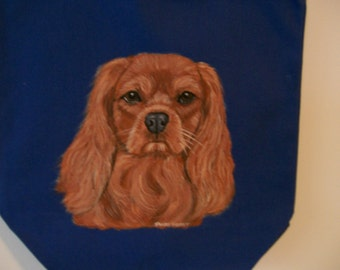 Reuseable Canvas Tote with Cavalier King Charles Spaniel Ruby Coat