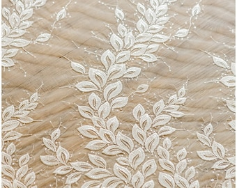 Leaf lace fabric, wedding lace fabric, bridal lace, Couture Lace, Sequin Lace fabric, wedding dress lace, Flower lace fabric - (L17-011)