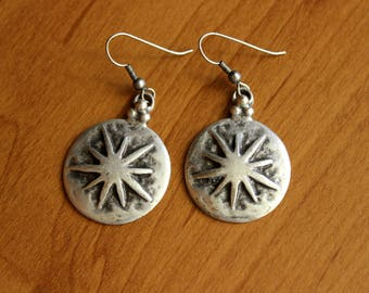 Boho Silver Earrings, Ethnic Earrings, Round Silver Earrings, Antique Silver Earrings, Kuchi Earrings, Afghan Earrings, Star Earrings