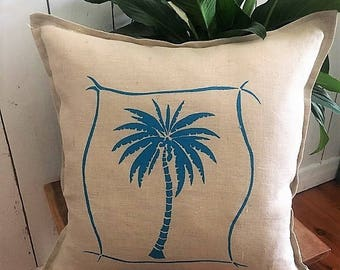 Tropical Palm Tree, Cushion cover Hand printed onto Linen, Made in Australia Aqua