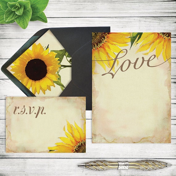 DIY Rustic Sunflower Wedding Invitation Template Printable - Sunflower wedding invitations templates