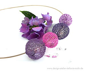 "wire crochet ""BUBBLE"" necklace with fresh water pearls, choose from  different color combinations"