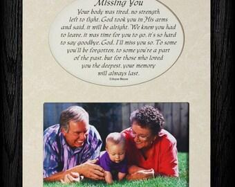 MISSING YOU Picture & Poetry Memorial/Bereavement Keepsake Photo Frame