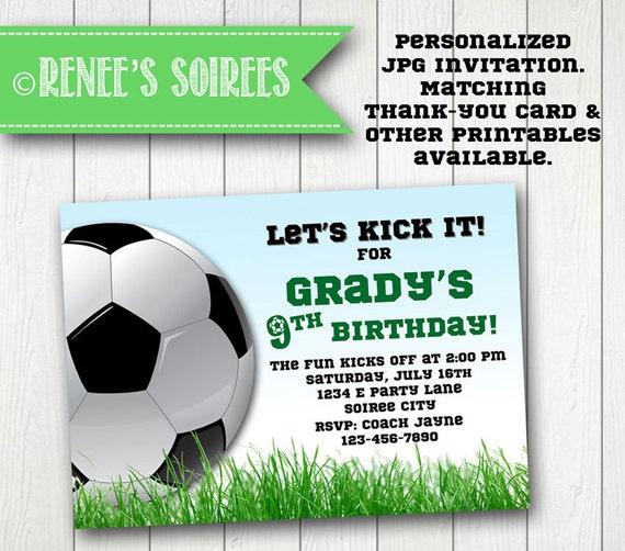 SOCCER INVITATION Printable Football Birthday Invite