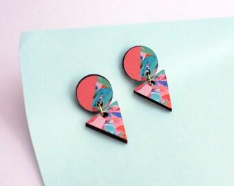 Art deco earrings, statement earrings, unique jewelry, geometric earrings, edgy earrings, gifts for women, fashion earrings, pink earrings