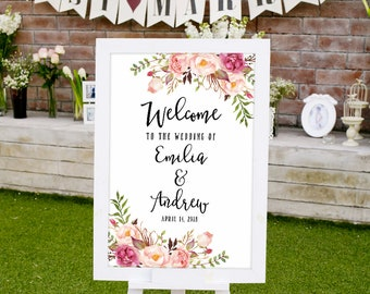 Wedding Welcome Sign Template, Printable Wedding Reception Sign, #A019, INSTANT DOWNLOAD with EDITABLE text - you personalize at home
