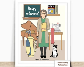 Personalized Retirement Gifts for Men and Women, Custom Portrait, Digital Printable