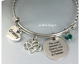 Gift for Granny Bangle Bracelet The Love between a Granny and Grandson is Forever Grandmother Birthday Gift Idea Granny Charm Bracelet