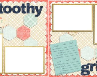 Toothy Grins Girl - Baby - Dentist - Digital Scrapbook Quick Pages - INSTANT DOWNLOAD