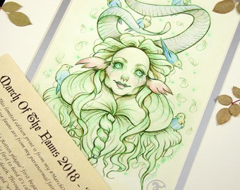 Madame Odine - MarchOfTheFauns 2018 Limited Edition Double Matted Faun Print with Story Scroll