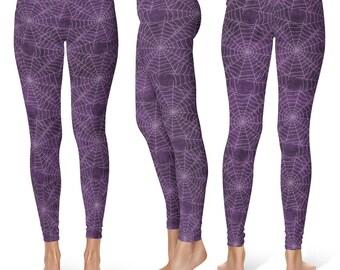 Spider Web Leggings, Halloween Leggings, Goth Leggings, Purple Yoga Pants, Printed Tights