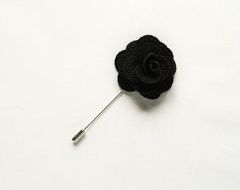 Black Flower Lapel Pin Wedding Boutonniere Wedding Lapel Pin groomsmen lapel pin