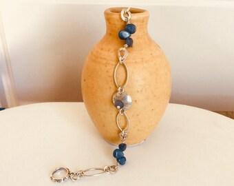 Sterling Silver & Kyanite Link Bracelet