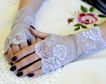 RESERVED. Stretch Lace Gloves in Light Gray , stretch lace, fingerless lace gloves, Bride, bridesmaid, gift for her.  Ready to ship.